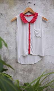 Tomato, White and Pink Polka Dot Collared Top