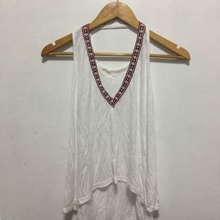 H&M Divided White Aztec lined Tank top