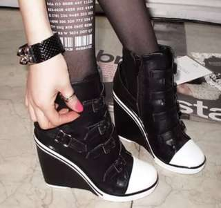 Wedge heel buckle up sneakers (perfect for cosplaying, festivals etc!!)