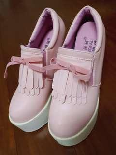 🚚 厚底鞋 粉紅色 高14公分 23號