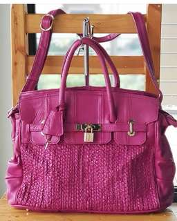Authentic Verde Large Birkin-style Two-way Satchel with braided front Patchwork back