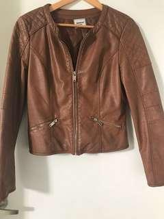 Leather look jacket tan