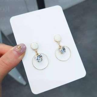 💌-925銀針 愛心鑽 糖果色 鈕扣 圓圈 耳環  🍬韓國製🍬
