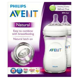 BNIB - Philips Avent Natural Bottle 260ml / 9oz - TWIN PACK