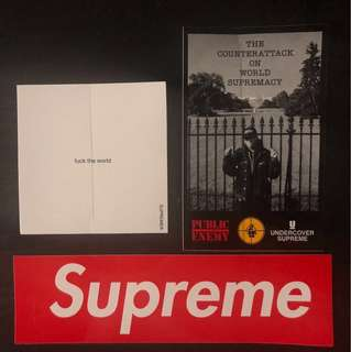 SUPREME UNDERCOVER sticker BOX LOGO FUCK THE WORLD 100%正版貼紙