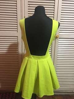 Sexy low back sunday yellow dress