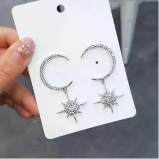 💌-s925銀針 光芒 鑲鑽 月亮 耳環  🍬韓國製🍬