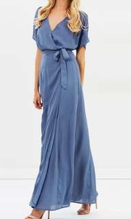 Dusty Blue Villa Wrap Maxi Dress