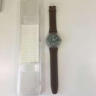 Swatch 手錶 深咖啡色錶帶
