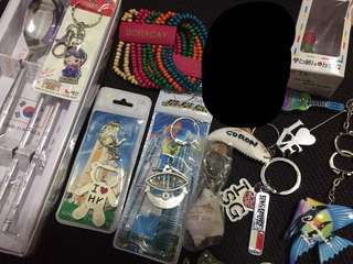 Assorted key chains and souvenirs