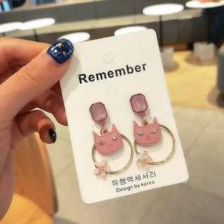 💌-方形水晶 貓臉 貓奴 五瓣小花 耳環  🍬韓國製🍬
