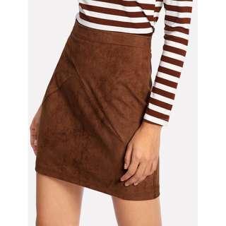 Suede High Waist Pencil Skirt