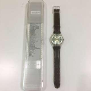 Swatch 啡色單缐錶帶手錶