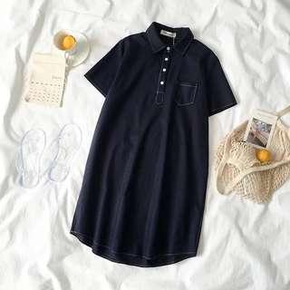 Navy Blue Collared Shirt Dress