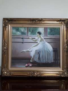 Ballerina painting with frame