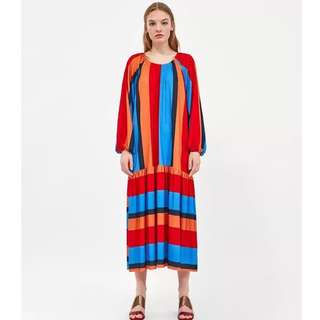 🚚 Europe and the United States wind 2018 summer new women's fashion wild round neck long-sleeved color striped loose long dress