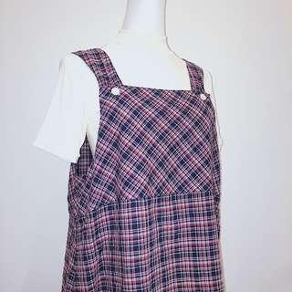 ELFin Doll  ✼ 藍紅格紋背心裙 ✼ 寬肩帶 棉紡 日式野餐裙 口袋 雙面穿長裙 蕾絲擺 Zakka 日本古着