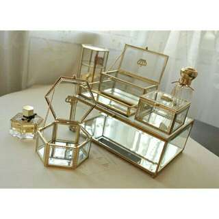 Glass Copper Transparent Jewellery Organizer Box