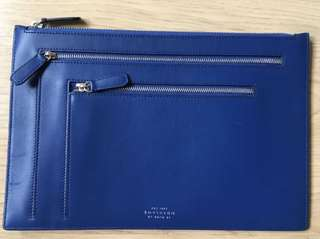 Smythson Blue leather 3 pocket travel clutch/wallet
