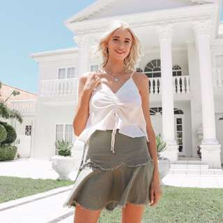 Princess Polly khaki linen skirt