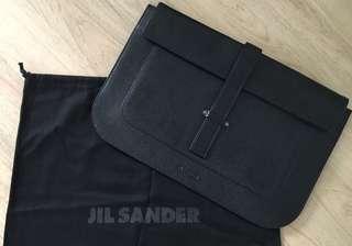 Jil Sander Black leather document holder