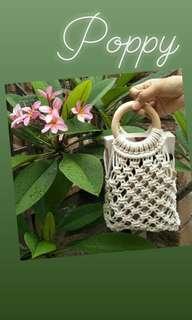 Poppy Macrame Tote Bag
