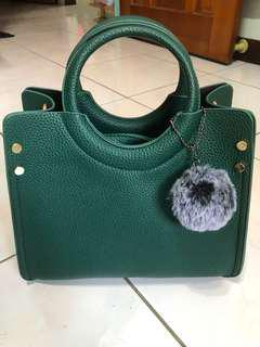綠色肩背手提兩用包(附贈小包)