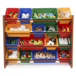 USED Tot Tutors Focus Super-Sized Toy Storage Organizer with 16 Plastic Primary Colored Bin Container Box Rack