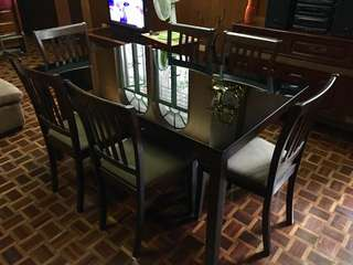 Wooden Dining Set with Glass Table Top (6 seater)