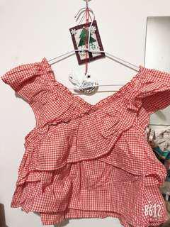 日本品牌橘色格紋短上衣