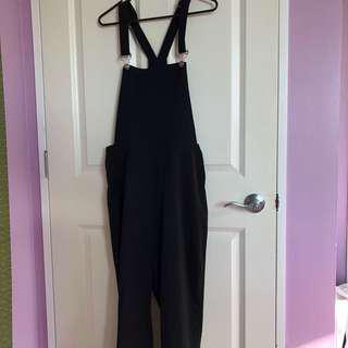 Black thick chiffon overalls