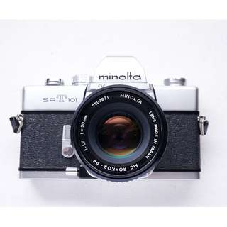 Minolta SRT101 fully mechanical film camera set