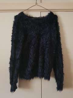 Forever 21 Navy Fluffy Jumper Size S/8