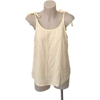 Yellow and white tie top, size 8