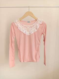 blouse lace PINK shoulder top
