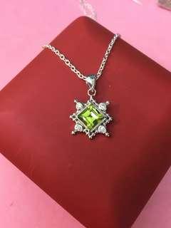 No:0725  925純銀包18K金,鑲CZ+天然AA級橄欖石(Peridot )7mm吊墜,產地巴西,超值價