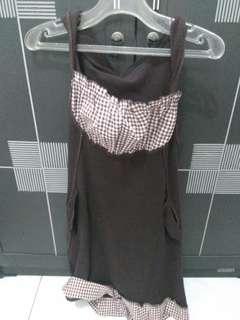 Dress Coklat Tanpa Lengan