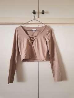 Kookai Beige Lace Up Crop Top Size 1