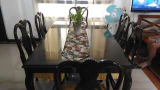 6 Seater Mahogany Wood with Tempered Glass Dining Table Set