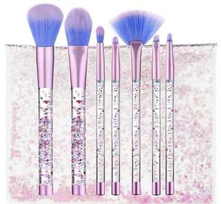 Glitter Make Up Brushes 7pcs Shiny Crystal Liquid Set with Pouch Instocks
