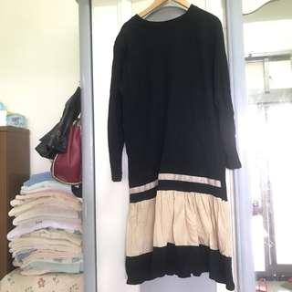 日 日系 韓 韓風 傘擺 長版上衣 小洋裝 傘狀 拼接 撞色 長袖洋裝 長袖長版上衣 及膝洋裝