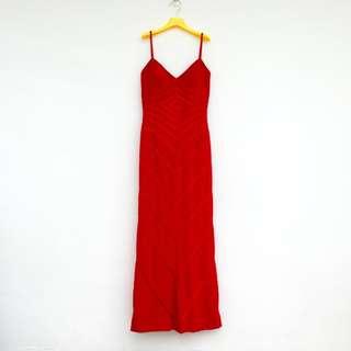 🚚 二手 紅色 條紋 低胸 露背 奧斯卡頒獎著或金錢豹著 高級 洋裝 明太子 618