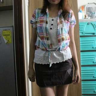 Bundle 2 Checkered top and roxy mini skirt