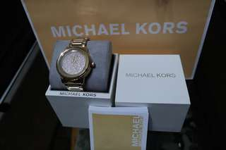 Authentic Michael Kors MK6209 kinley gold pave watch cystal dial ladies watch
