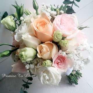Rustic Fresh Pastel Flowers hand bouquet (Wedding / ROM/ Bridesmaid / Proposal/ Anniversary/Birthday)