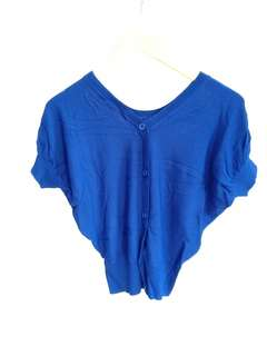 cardigan top silk electric blie