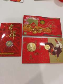 BUNDLE PACK- UNCIRCULATED COINS SET HONGBAO PACK ($5 coins x2, $1, 50, 20, 10, 5 cents coins) AND NOTE FROM THE SINGAPORE MINT