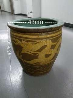 Antique Oriental Pottery Planter (Tempayan)