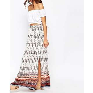 ASOS New Look Size 8 White & Boho Print Maxi Skirt With Side Splits