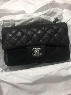 超罕❤️全新 Chanel mini 20cm 黑色牛皮銀扣